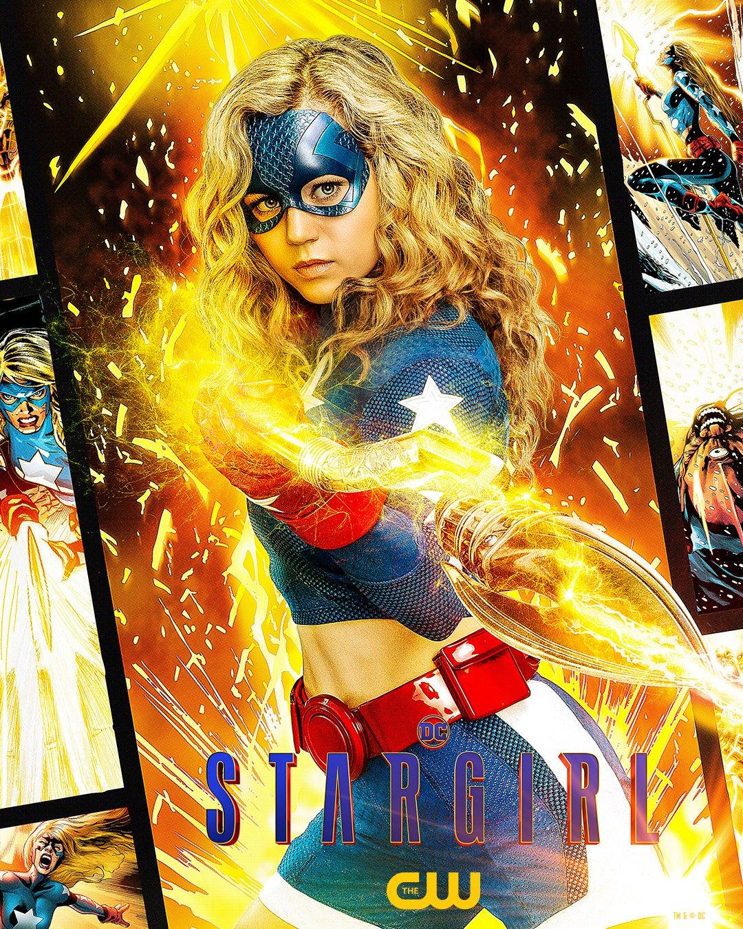 Stargirl (Brec Bassinger) en un póster de Stargirl. Imagen: Stargirl Twitter (@stargirl_cw).