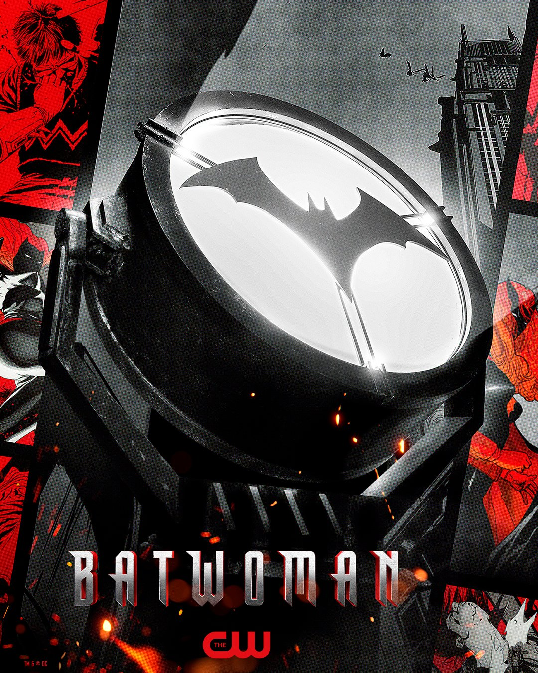 La Batiseñal en un póster de Batwoman. Imagen: Batwoman Twitter (@cwbatwoman).