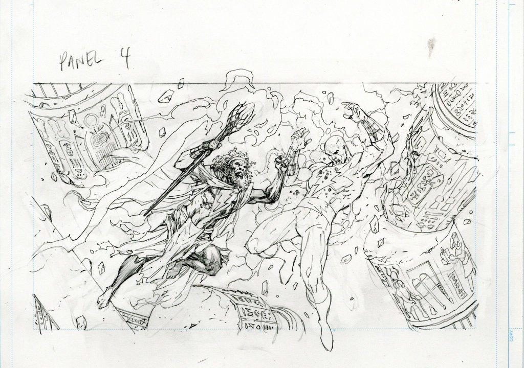 El hechicero Shazam y Black Adam (Dwayne Johnson) en arte conceptual de Black Adam (2021). Imagen: Jim Lee (@JimLee).