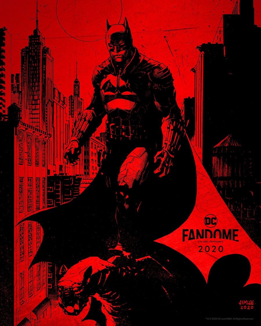 Póster de The Batman (2021) para DC FanDome. Arte por Jim Lee. Imagen: dccomics.com