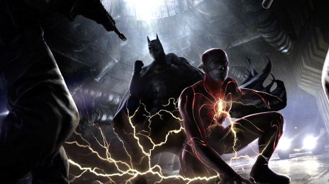 Batman/Bruce Wayne (Michael Keaton) y Flash/Barry Allen (Ezra Miller) en arte conceptual de The Flash (2022). Imagen: Warner Bros. Pictures