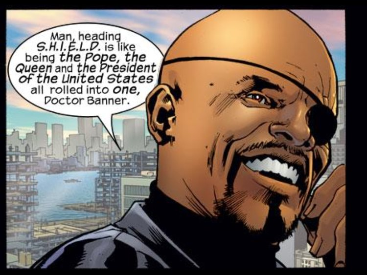 Nick Fury en The Ultimates #2 (abril de 2002). Imagen: aintitcool.com