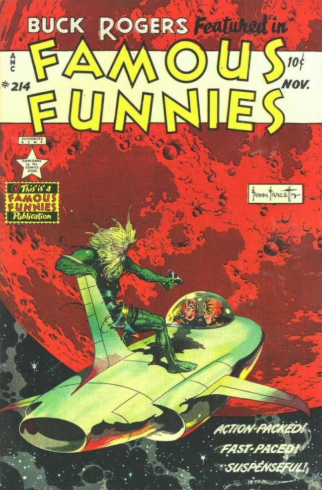 Buck Rogers en la portada de Famous Funnies #214 (noviembre de 1954). Arte por Frank Frazetta (1928-2010). Imagen: Comic Book Plus