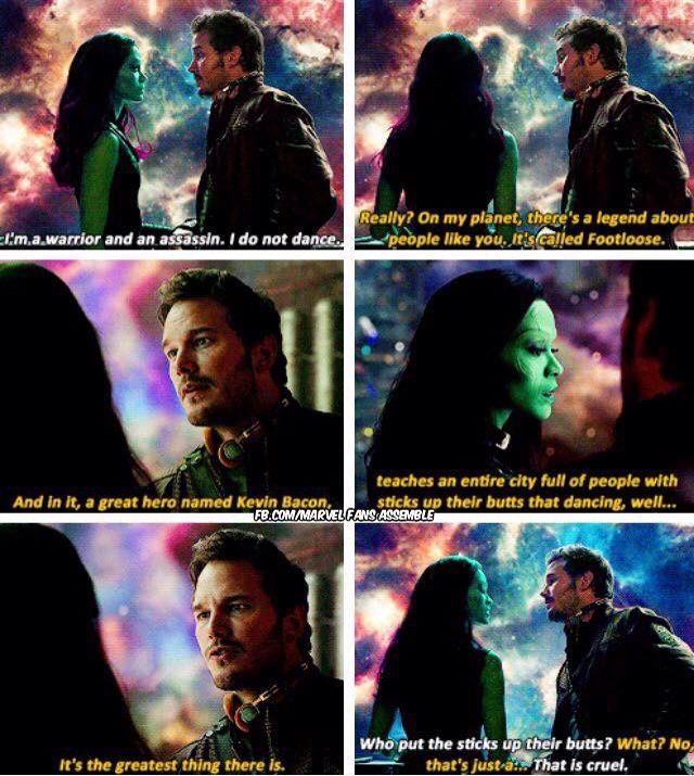 Kevin Bacon en la conversación de Peter Quill/Star-Lord (Chris Pratt) y Gamora (Zoë Saldana) en Guardians of the Galaxy (2014). Imagen: pinterest.com