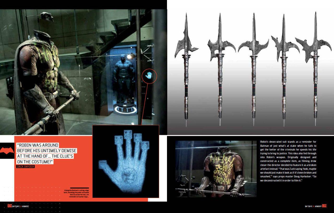 El traje y el arma de Robin en el libro Batman v Superman: Dawn of Justice – Tech Manual (2016). Imagen: ComicBook.com
