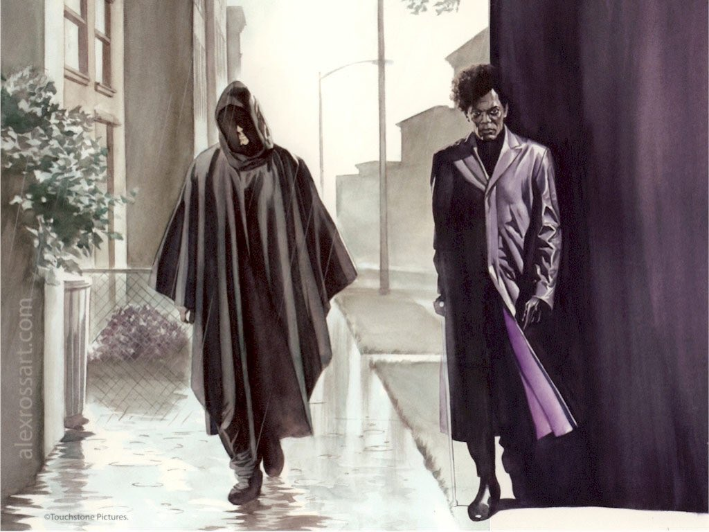 David Dunn (Bruce Willis) y Elijah Price/Mr. Glass (Samuel L. Jackson) en arte de Unbreakable (2000) por Alex Ross. Imagen: Alex Ross Twitter (@thealexrossart).