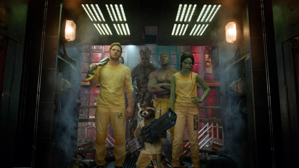 Peter Quill/Star-Lord (Chris Pratt), Rocket Raccoon (voz de Bradley Cooper), Gamora (Zoë Saldana), Drax the Destroyer (Dave Bautista) y Groot (voz de Vin Diesel) en Guardians of the Galaxy (2014). Imagen: fanart.tv