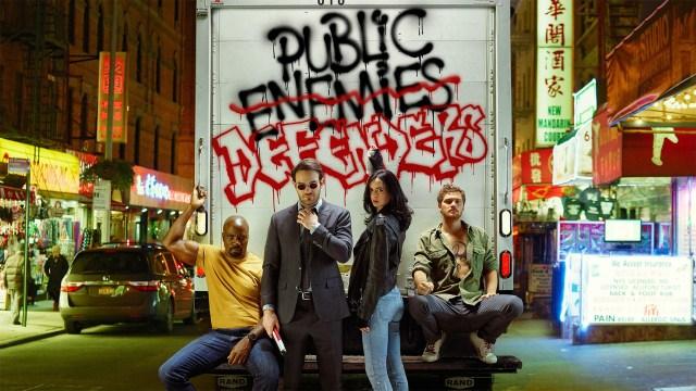 Luke Cage (Mike Colter), Matt Murdock/Daredevil (Charlie Cox), Jessica Jones (Krysten Ritter) y Danny Rand/Iron Fist (Finn Jones) en The Defenders (2017). Imagen: fanart.tv