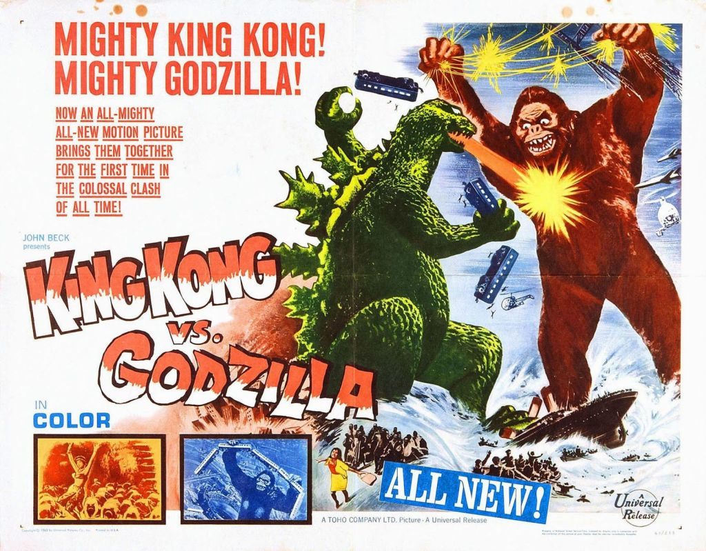 Póster americano de King Kong vs. Godzilla (1962). Imagen: pinterest.com