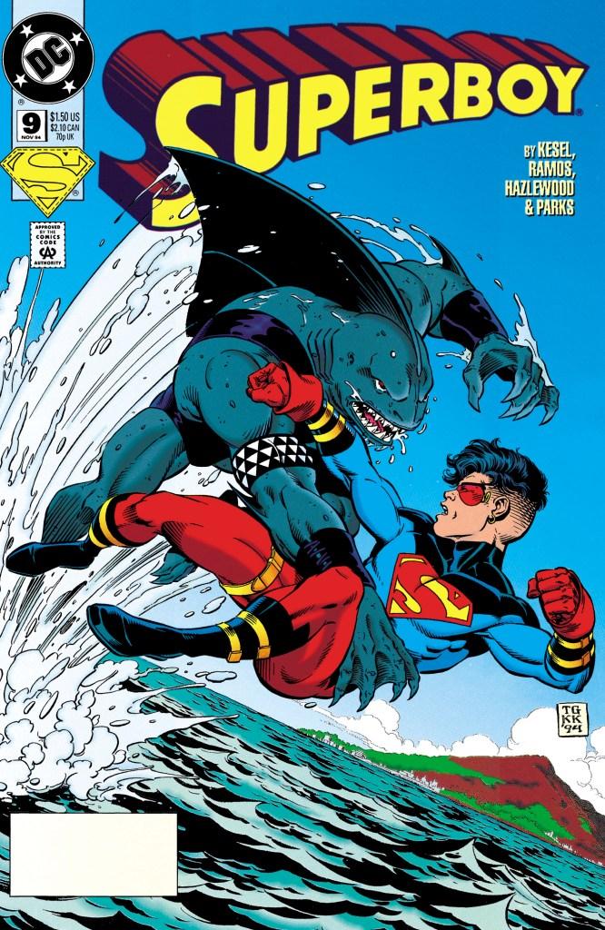 King Shark vs. Superboy/Kon-El/Conner Kent en la portada de Superboy #9 (noviembre de 1994). Imagen: zipcomic
