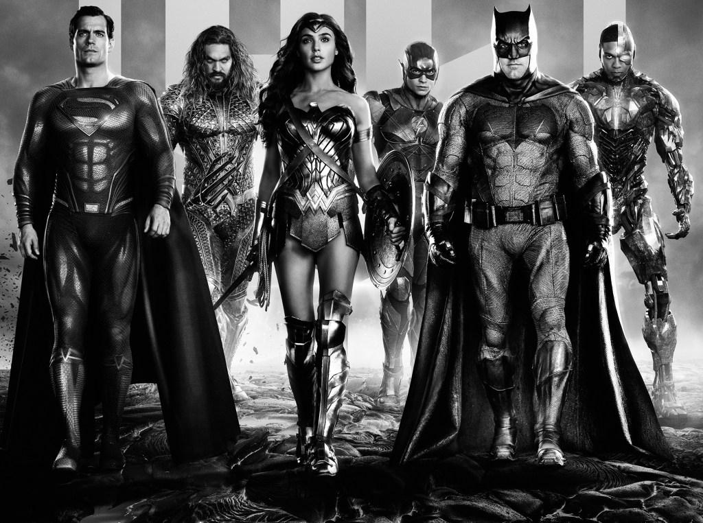 Superman (Henry Cavill), Aquaman (Jason Momoa), Wonder Woman (Gal Gadot), Flash (Ezra Miller), Batman (Ben Affleck) y Cyborg (Ryan Fisher) en arte promocional de Zack Snyder's Justice League (2021). Imagen: dccomics.com