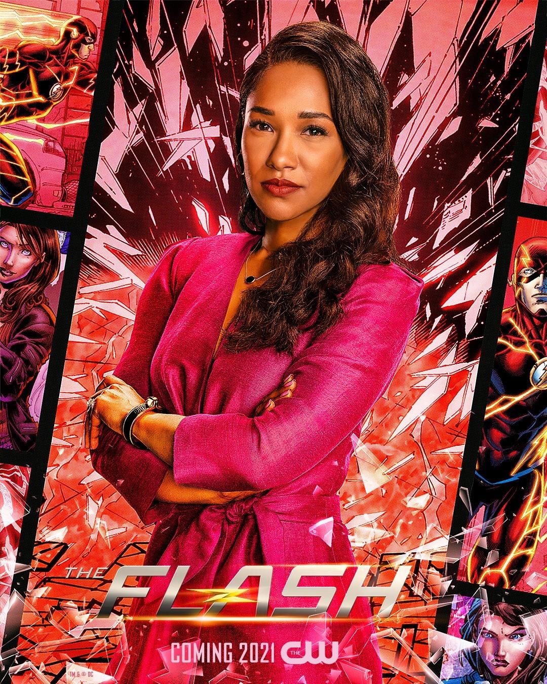 Iris West-Allen (Candice Patton) en un póster promocional de la temporada 7 de The Flash. Imagen: impawards.com