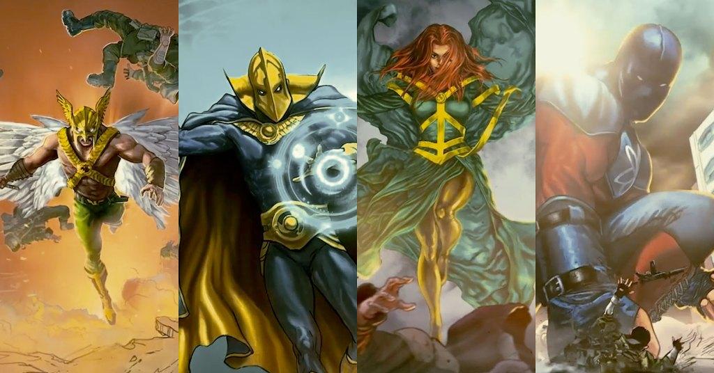 Los miembros de la Justice Society of America (JSA) en arte conceptual de Black Adam (2022): Hawkman (Aldis Hodge), Doctor Fate (Pierce Brosnan), Cyclone (Quintessa Swindell) y Atom-Smasher (Noah Centineo) Imagen: Nerd Reactor