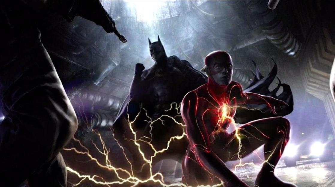 Flash/Barry Allen (Ezra Miller) y Batman/Bruce Wayne (Michael Keaton) en arte conceptual de The Flash (2022). Imagen: listal.com
