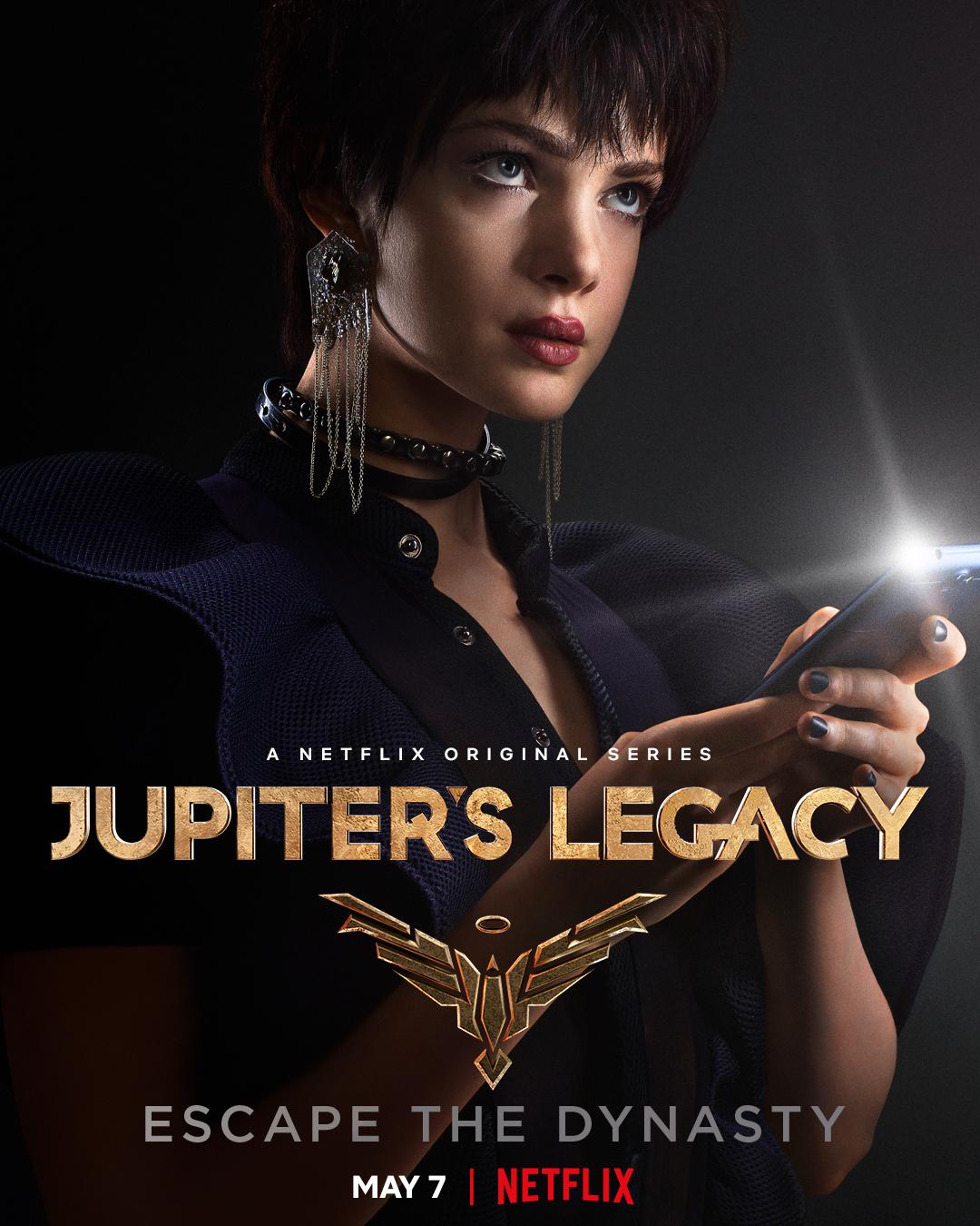 Chloe Sampson (Elena Kampouris) en un póster de Jupiter's Legacy. Imagen: Millarworld Twitter (@mrmarkmillar).