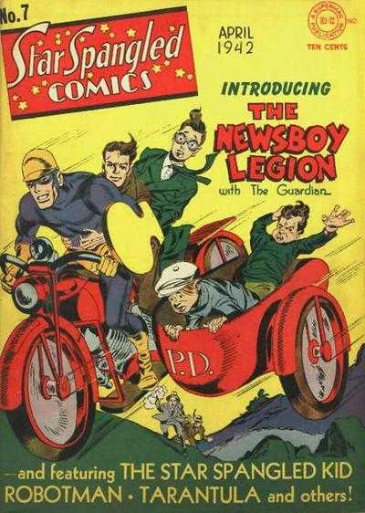 Guardian/Jim Harper y The Newsboy Legion en la portada de Star-Spangled Comics #7 (abril de 1942). Arte por Joe Simon (1913-2011) y Jack Kirby (1917-1994). Imagen: Comic Vine