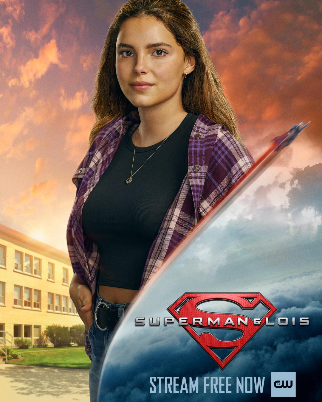Sarah Cushing (Inde Navarrette) en un póster de Superman & Lois. Imagen: Superman & Lois Twitter (@cwsupermanandlois).
