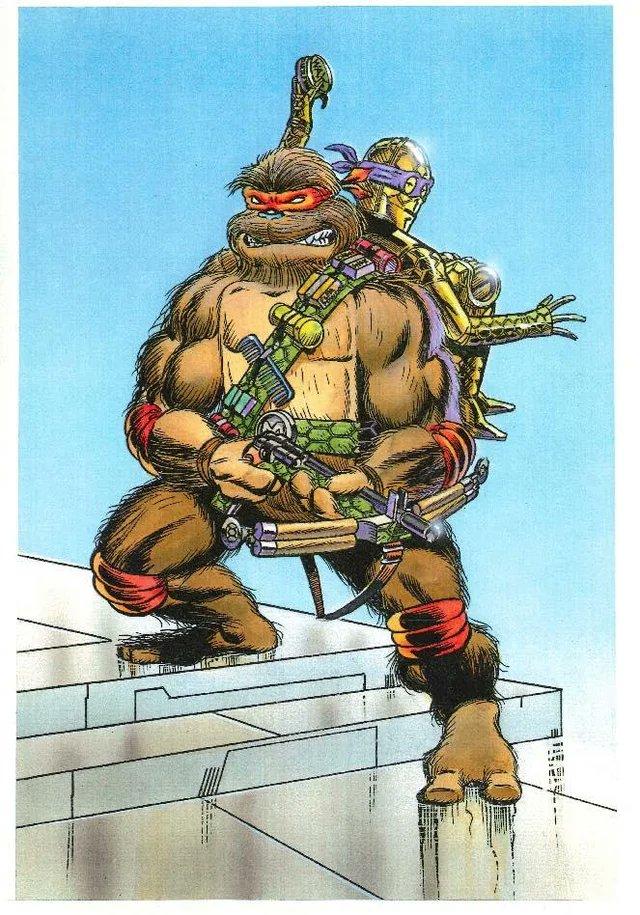 ChewMikey en arte conceptual del crossover Star Wars/Teenage Mutant Ninja Turtles por Michael Dooney. Imagen: Alan Johnson Twitter (@TheAlanJohnson).