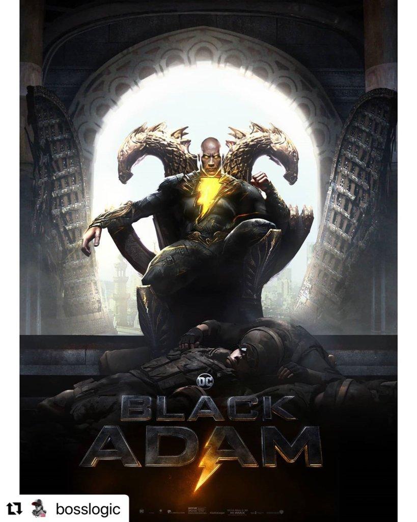 Black Adam/Teth-Adam (Dwayne Johnson) en arte conceptual de Black Adam (2022) por Jim Lee y BossLogic. Imagen: Jim Lee Twitter (@JimLee).
