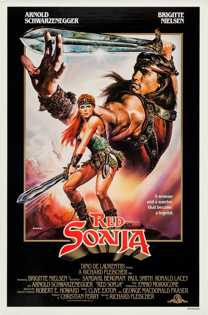 Póster de Red Sonja (1985), protagonizada por Arnold Schwarzenegger y Brigitte Nielsen. Imagen: impawards.com