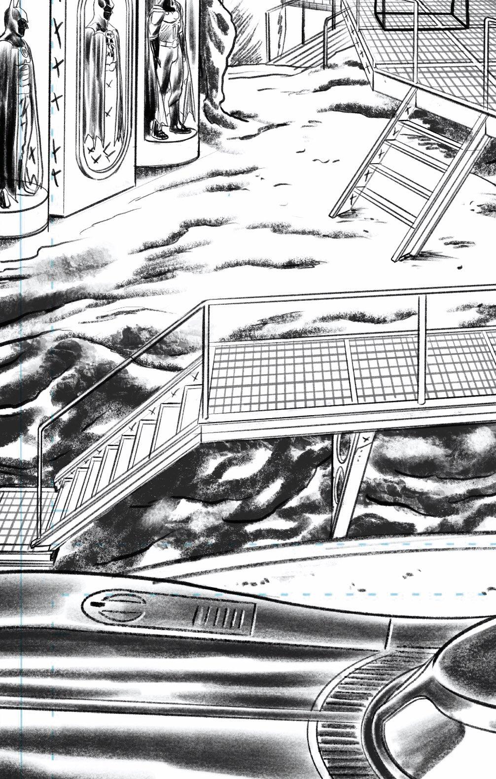 La Baticueva, el Batimóvil y los Batitrajes en Batman '89 (2021). Arte por Joe Quiñones. Imagen: Joe Quiñones Twitter (@Joe_Quinones).