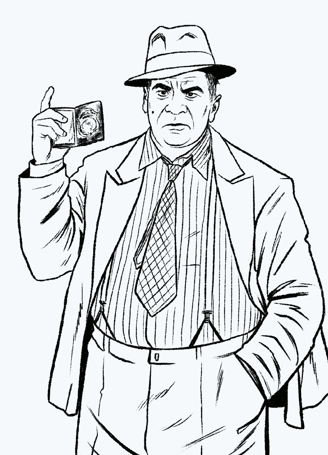 El Detective Harvey Bullock en Batman '89 (2021). Arte por Joe Quiñones. Imagen: Joe Quiñones Twitter (@Joe_Quinones).