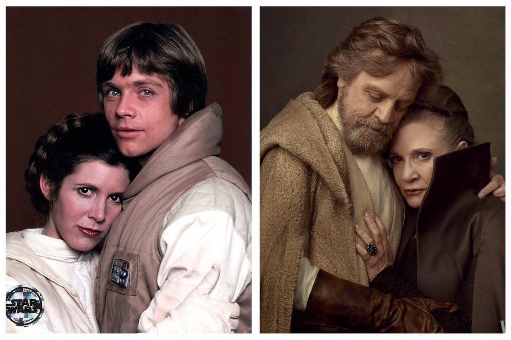 La Princesa Leia Organa (Carrie Fisher, 1956-2016) y Luke Skywalker (Mark Hamill) en Star Wars: Episode V - The Empire Strikes Back (1980) y Star Wars: The Last Jedi (2017). Imagen: Mark Hamill Twitter (@HamillHimself).
