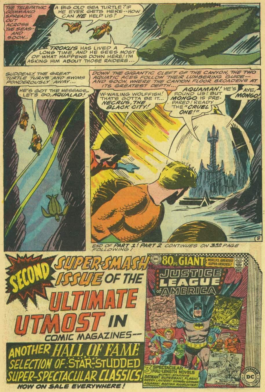 Aquaman y Aqualad encontrando la ciudad de Necrus en Aquaman #30 (diciembre de 1966). Imagen: zipcomic.com