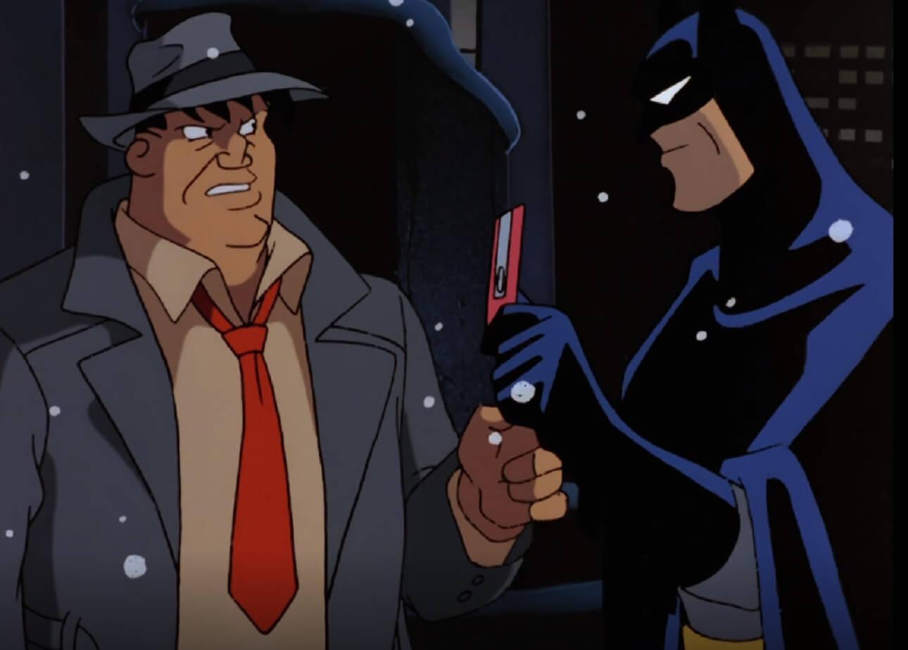 El Detective Harvey Bullock (voz de Robert Costanzo) y Batman (voz de Kevin Conroy) en un episodio de Batman: The Animated Series (1992-1995). Imagen: DC Universe Infinite