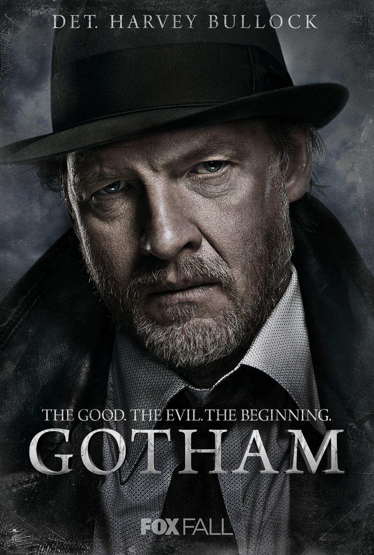 El Detective Harvey Bullock (Donal Logue) en un póster promocional de Gotham (2014-2019). Imagen: impawards.com