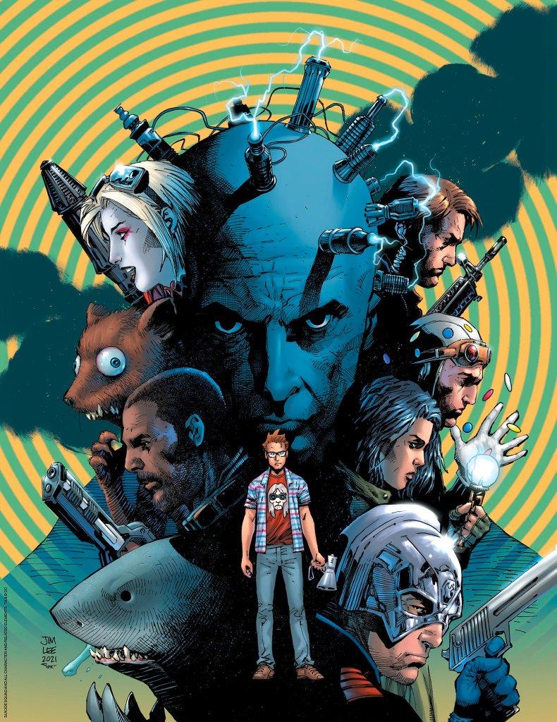 El director/guionista James Gunn y personajes de The Suicide Squad (2021) en la portada exclusiva para subscriptores de Empire (agosto de 2021) sin texto por Jim Lee y Alex Sinclair. Imagen: Jim Lee Twitter (@JimLee).