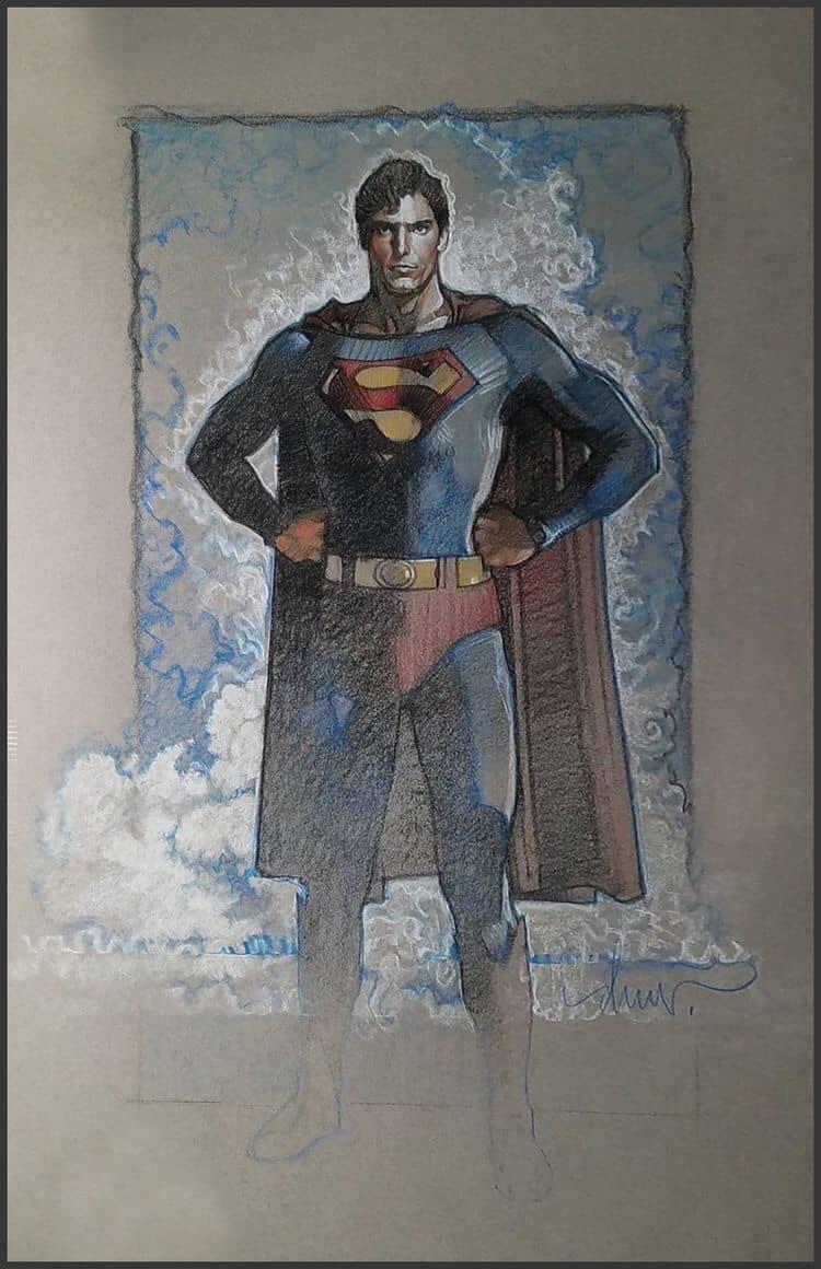 Christopher Reeve (1952-2004) como Superman en arte de Superman: The Movie (1978) por Drew Struzan. Imagen: Drew Struzan (@DrewStruzan).
