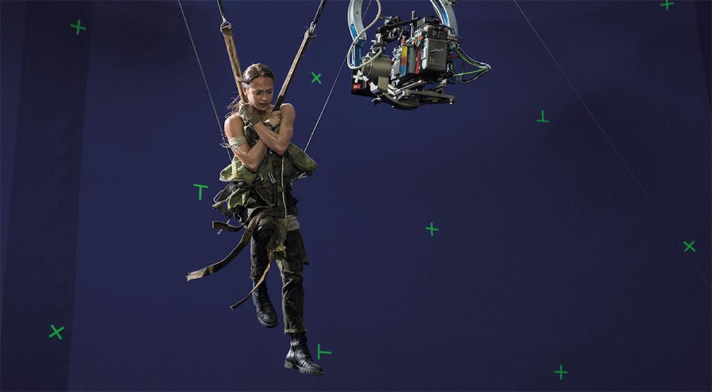 Alicia Vikander como Lara Croft en el set de Tomb Raider (2018). Imagen: vfxvoice.com