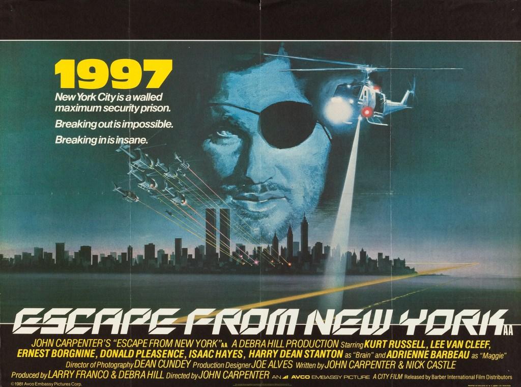 Snake Plissken (Kurt Russell) en un póster de Escape from New York (1981). Imagen: impawards.com