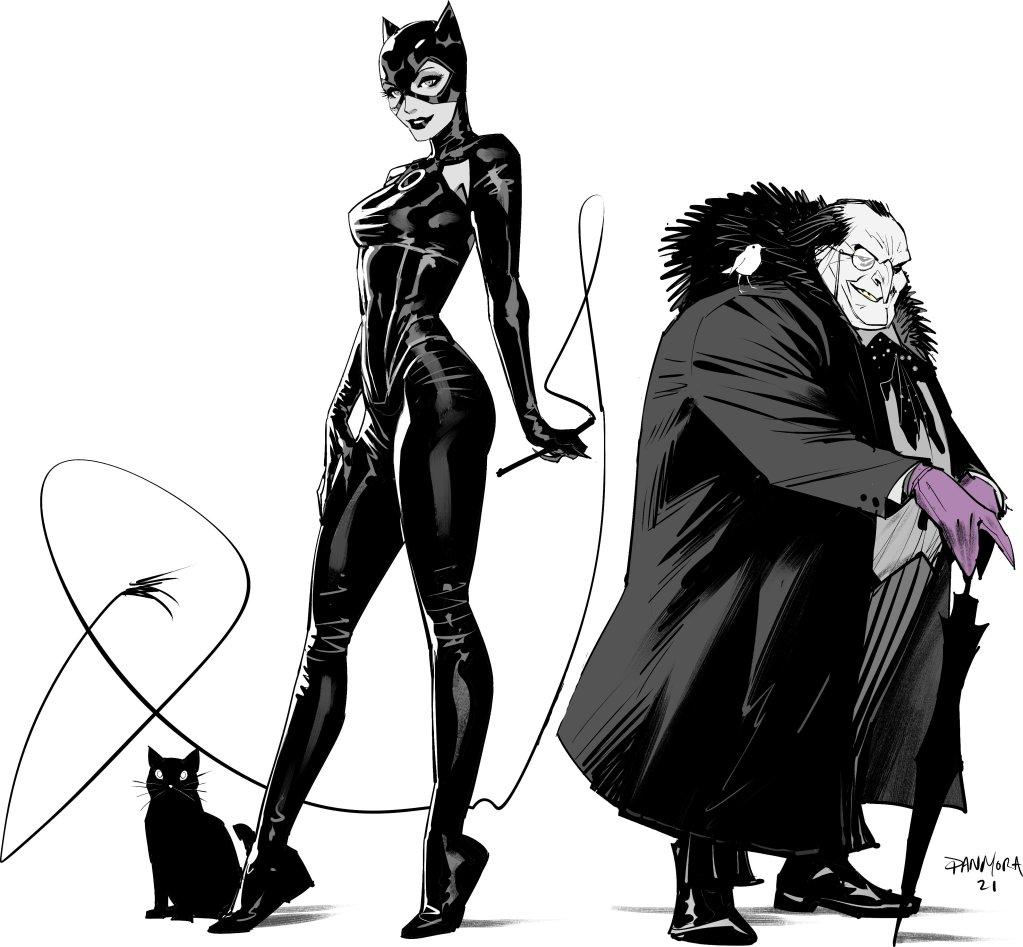 Diseños de Catwoman/Selina Kyle y The Penguin/Oswald Cobblepot en Gotham City Villains Anniversary Giant #1 (noviembre de 2021) por Dan Mora. Imagen: Dan Mora Twitter (@Danmora_c).