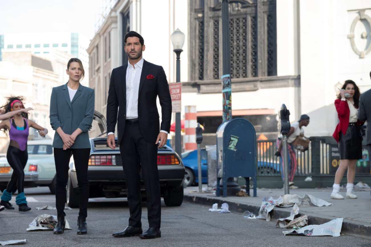 La Detective Chloe Decker (Lauren German) y Lucifer Morningstar (Tom Ellis) en el episodio 603 de Lucifer. Imagen: John P. Fleenor/Netflix