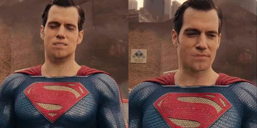 Superman (Henry Cavill) y la afeitada digital en Justice League (2017). Imagen: dailydot.com
