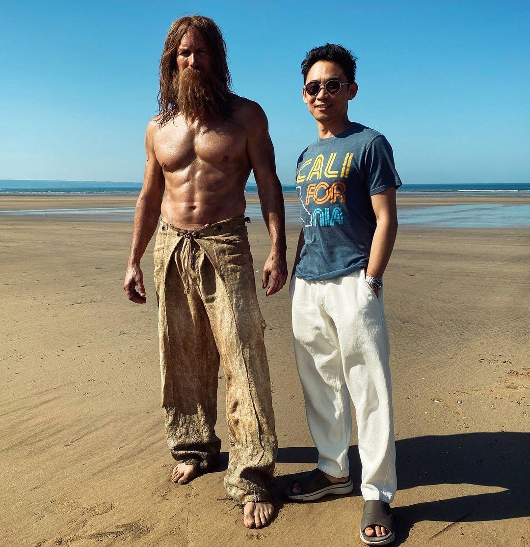 Patrick Wilson como Orm Marius/Ocean Master y el director James Wan en el set de Aquaman and the Lost Kingdom (2022). Imagen: James Wan Instagram (@creepypuppet).