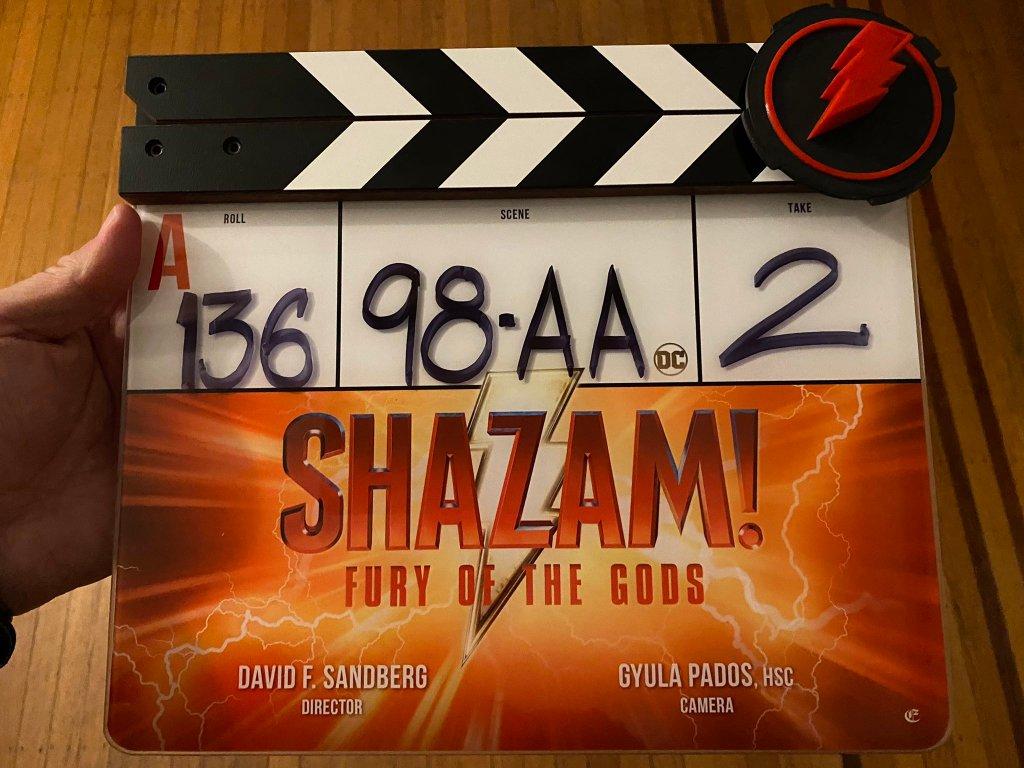 La claqueta de Shazam!: Fury of the Gods (2023). Imagen: David F. Sandberg Twitter (@ponysmasher).