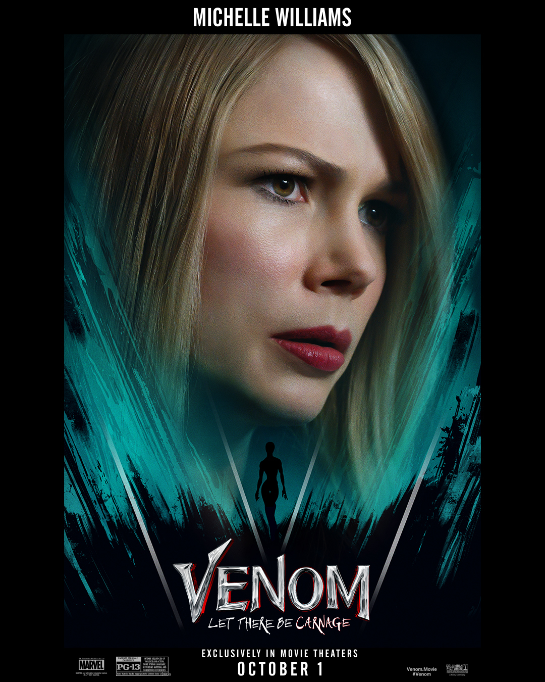 Anne Weying (Michelle Williams) en póster de Venom: Let There Be Carnage (2021). Imagen: Sony Pictures Twitter (@SonyPictures).