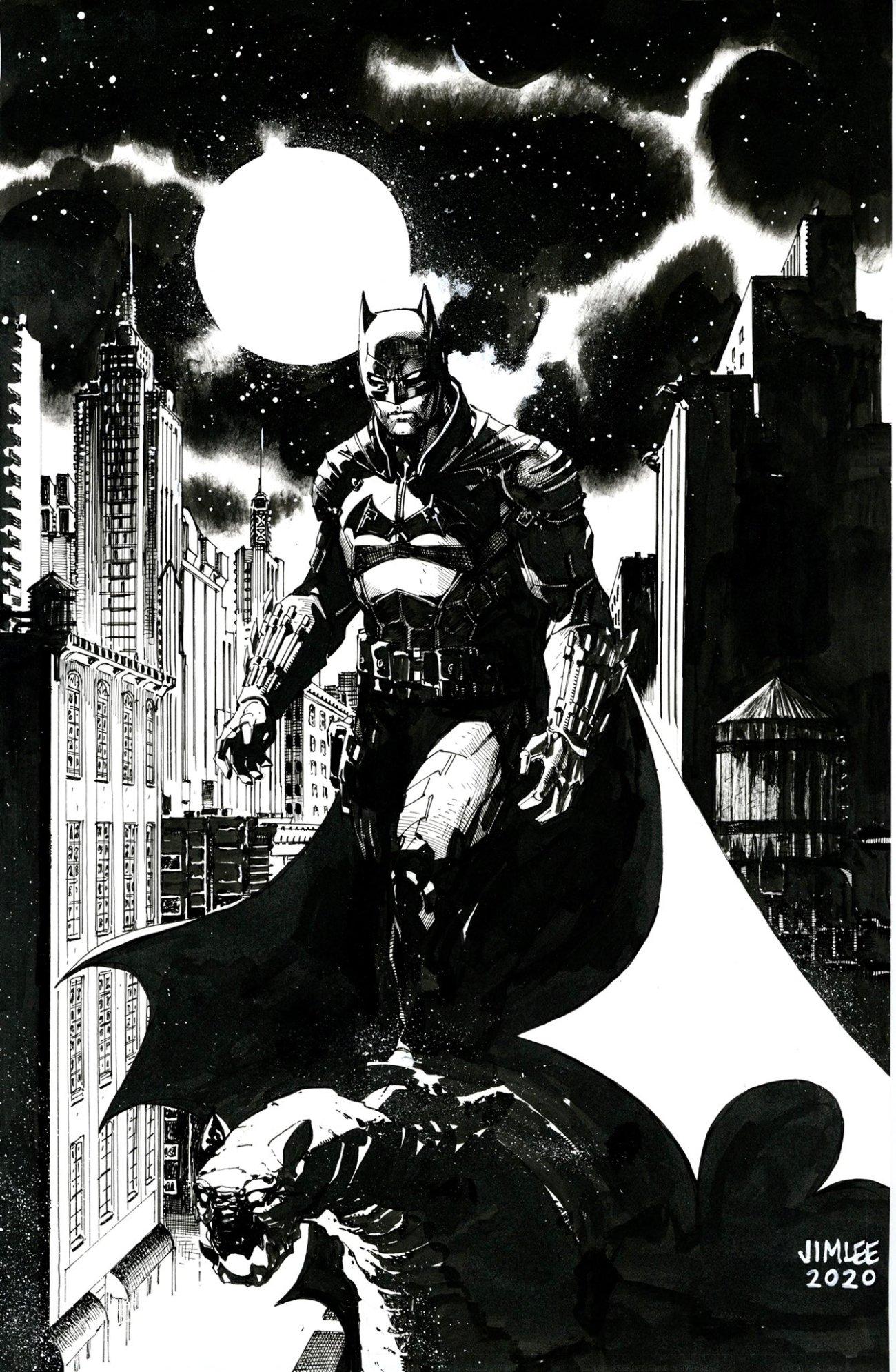 Sketch del póster de The Batman (2022) para DC FanDome 2020 por el artista Jim Lee. Imagen: Jim Lee Twitter (@JimLee).