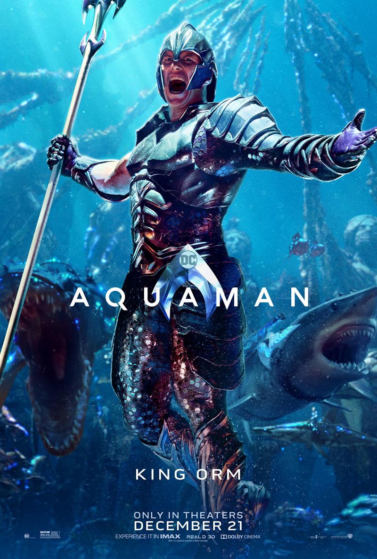 Orm Marius/Ocean Master (Patrick Wilson) en un póster de Aquaman (2018). Imagen: impawards.com