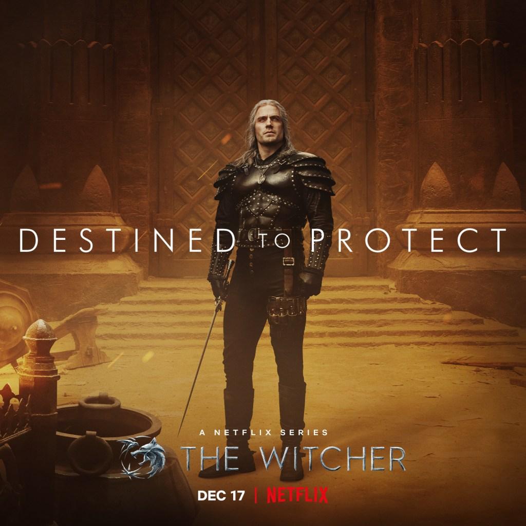 Henry Cavill como Geralt de Rivia en un póster de la temporada 2 de The Witcher. Imagen: The Witcher Twitter(@witchernetflix).