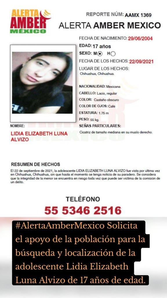 #AlertaAmberMexico Solicita el apoyo de la población para la búsqueda y localización de la adolescente Lidia Elizabeth Luna Alvizo de 17 años de edad.