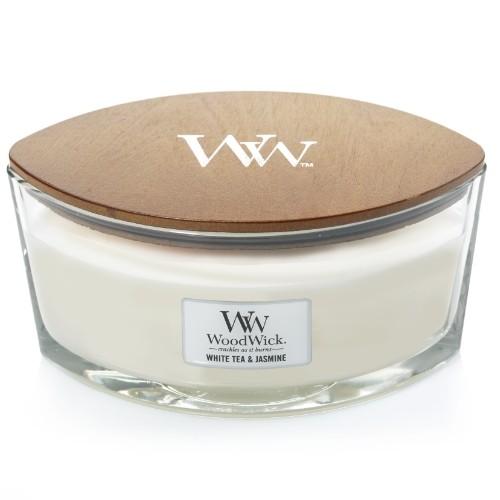 WoodWick Geurkaars White Tea & Jasmine HearthWick Ellipse