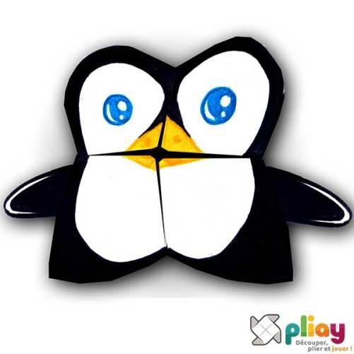 Marionnette Pingouin Cocotte en papier à imprimer - Les loisirs créatifs Pliay