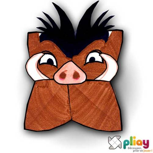 Marionnette Sanglier Cocotte en papier à imprimer - Les loisirs créatifs Pliay