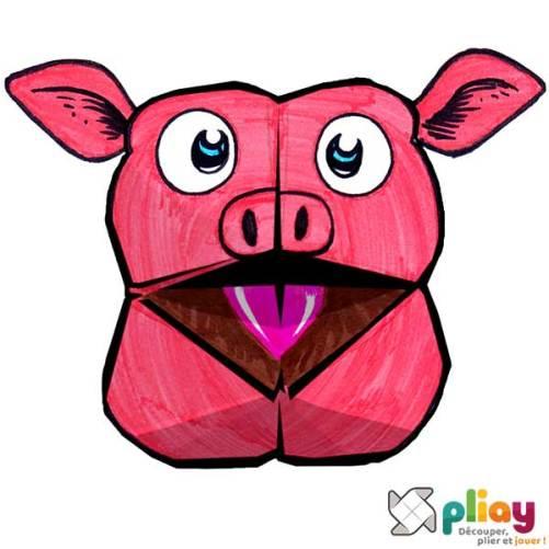 Marionnette Cochon Cocotte en papier à imprimer - Les loisirs créatifs Pliay