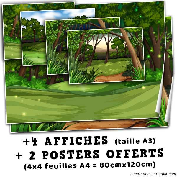 Offert dans ce pack : 2 poster de 80x120cm + 4 affiches de taille A3