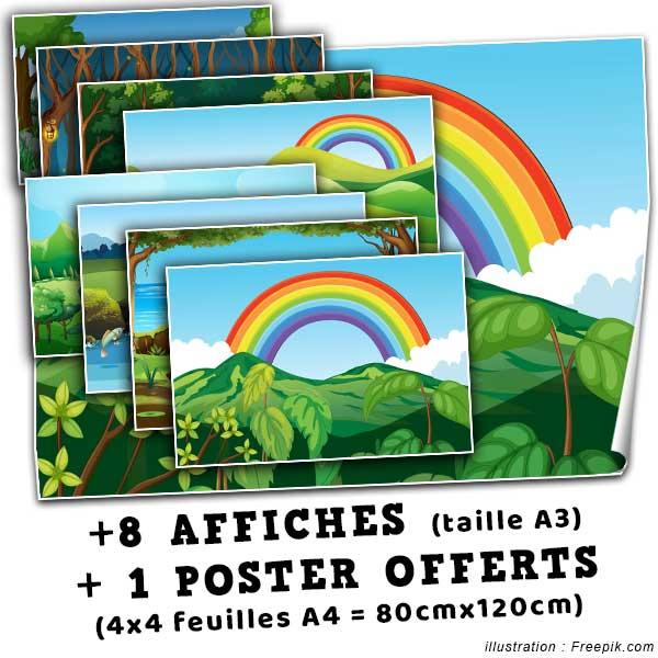 Offert dans ce pack : 8 affiches de taille A3 + 1 poster de 80x120cm aux couleurs du pays des licornes